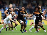 Nathan Hughes of Wasps makes a break during the Aviva Premiership match between London Wasps and Worcester Warriors at Adams Park on September 28, 2013