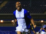 Birmingham's Matt Green celebrates after scoring his team's second goal against Swansea during their League Cup match on September 25, 2013