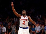 Raymond Felton #2 of the New York Knicks celebrates a three point basket against the Indiana Pacers during Game Five of the Eastern Conference Semifinals of the 2013 NBA Playoffs at Madison Square Garden on May 16, 2013