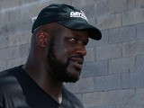 Former NBA basketball player Shaquille O'Neal attends the NASCAR Sprint Cup Series Coke Zero 400 at Daytona International Speedway on July 6, 2013