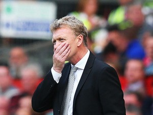 Manchester United manager David Moyes reacts on the touchline during the Barclays Premier League match between Manchester United and West Bromwich Albion at Old Trafford on September 28, 2013