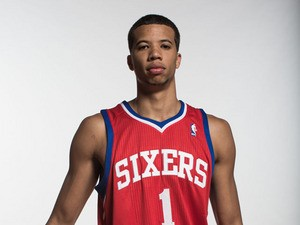Michael Carter-Williams #1 of the Philadelphia 76ers poses for a portrait during the 2013 NBA rookie photo shoot at the MSG Training Center on August 6, 2013