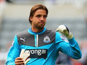 Tim Krul the Newcastle United goalkeeper reacts following the Barclays Premier League match between Newcastle United and Fulham at St James' Park on August 31, 2013