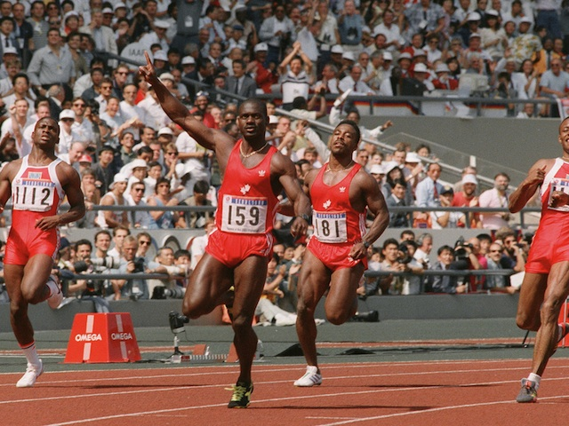 Canadian Ben Johnson speeds to win the 1988 Seoul Olympic 100m final in a world record 9.79 seconds on 24 September, 1988