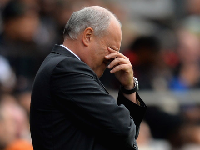 Manager Martin Jol of Fulham looks dejected during the Barclays Premier League match between Fulham and Cardiff City at Craven Cottage on September 28, 2013