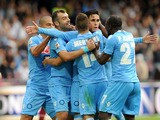 Josè Maria Callejon of Napoli celebates with team mates after scoring the goal 3-0 during the Serie A match between SSC Napoli and AS Livorno Calcio at Stadio San Paolo on October 6, 2013