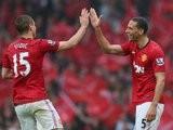 Nemanja Vidic and Rio Ferdinand celebrates the latter's winning goal for Manchester United against Swansea City in May 2013.