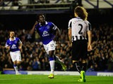 Everton's Romelu Lukaku celebrates after scoring the opening goal against Newcastle during their Premier League match on September 30, 2013