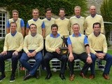 The European team celebrate winning after the final days singles matches at the Seve Trophy at Golf de Saint-Nom-la-Breteche on October 6, 2013