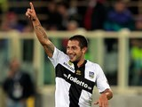 Parma's Walter Gargano celebrates after scoring the opening goal against Fiorentina during their Serie A match on September 30, 2013