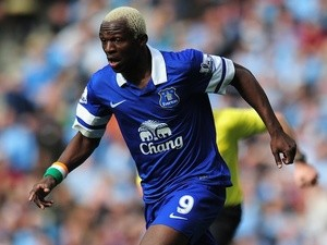 Everton striker Aruna Kone in action against Manchester City at Etihad Stadium on October 5, 2013