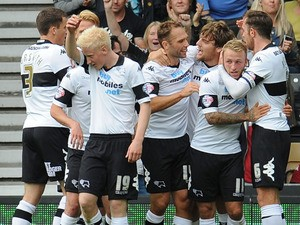 Chris Martin of Derby County celebrates his goal during the Sky Bet Championship match between Derby County and Leeds United at Pride Park Stadium on October 05, 2013