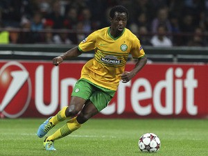Efe Ambrose of Celtic in action during the UEFA Champions League group H match between AC Milan and Celtic at Stadio Giuseppe Meazza on September 18, 2013