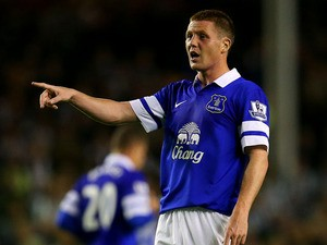 James McCarthy of Everton signals during the Barclays Premier League match between Everton and Newcastle United at Goodison Park on September 30, 2013