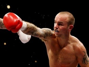 British boxer Kevin Mitchell in action against Ricky Burns on September 22, 2012