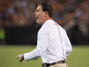Head coach Pat Shurmur of the Cleveland Browns argues a call by officials during the second quarter of a preseason game against the Chicago Bears at Cleveland Browns Stadium on August 30, 2012