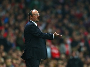 Napoli manager Rafael Benitez on the touchline during the Champions League group match against Arsenal on October 1, 2013