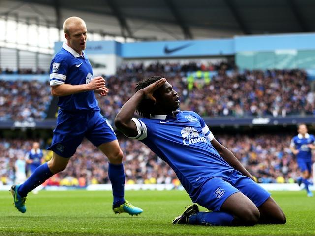 Everton striker Romelu Lukaku celebrates opening the scoring against Man City on October 5, 2013