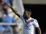 Lyon's Frecnh forward Alexandre Lacazette celebrates after scoring during the French L1 football match Montpellier vs Lyon on October 6, 2013