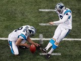 Graham Gano #9 of the Carolina Panthers kicks a field goal against the New Orleans Saints at the Mercedes-Benz Superdome on December 30, 2012