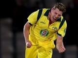 James Faulkner of Australia celebrates the wicket of Jos Buttler of England on September 16, 2013