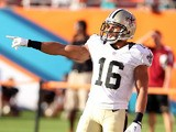 Wide Receiver Lance Moore #16 warms up prior to playing against the Miami Dolphins at Sun Life Stadium on August 29, 2013