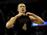 Purdue Boilermakers' Robbie Hummel in action against Kansas Jayhawks on March 18, 2012