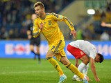 Ukraine's Andriy Yarmolenko after scoring a goal during the Fifa 2014 World Cup qualifier football match Ukraine vs Poland in Kharkiv on October 11, 2013