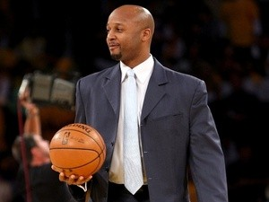 Brian Shaw brings out the game ball before Game Five of the Western Conference Finals between the Los Angeles Lakers and the San Antonio Spurs on May 29, 2008