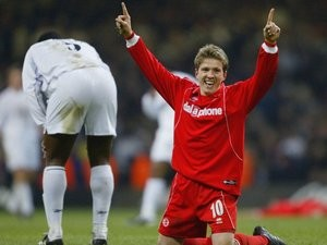 Juninho celebrates winning the League Cup with Middlesbrough in February 2004.