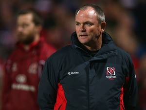 Ulster Rugby Head Coach Mark Anscombe keeps an eye on his team as they warm up for the Heineken Cup match between Ulster and Leicester Tigers at Ravenhill on October 11, 2013