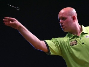 Michael van Gerwen of the Netherlands in action during his quarter-final match Clinton Bridge of Australia against during day two of the Sydney Darts Masters on August 30, 2013