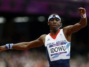 Britain's Phillips Idowu competes in the men's triple jump qualifying rounds at the athletics event during the London 2012 Olympic Games on August 7, 2012