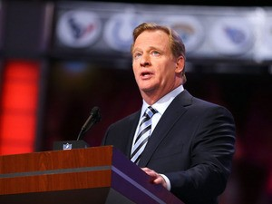 NFL Commissioner Roger Goodell speaks at the podium in the first round of the 2013 NFL Draft at Radio City Music Hall on April 25, 2013