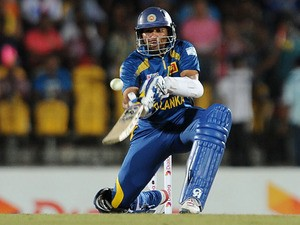 Sri Lankan batsman Tillakaratne Dilshan plays a shot during the third and final Twenty20 cricket match between Sri Lanka and South Africa at the Suriyawewa Mahinda Rajapakse International Cricket Stadium in the southern district of Hambantota on August 6,