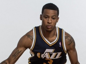 Trey Burke #3 of the Utah Jazz poses for a portrait during the 2013 NBA rookie photo shoot at the MSG Training Center on August 6, 2013