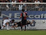 Gonzalo Bergessio of Catania scores the opening goal during the Serie A match between Cagliari Calcio and Calcio Catania at Stadio Sant'Elia on October 19, 2013