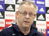 Iceland team head coach Lars Lagerback speaks during a press conference ahead of the Kirin Challenge Cup international friendly match against Japan at Nagai Stadium on February 23, 2012