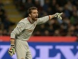 Morgan De Sanctis of AS Roma reacts during the Serie A match between FC Internazionale Milano and AS Roma at Stadio Giuseppe Meazza on October 5, 2013