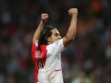 Monaco's Colombian forward Radamel Falcao celebrates a goal during the French L1 football match Monaco vs Saint Etienne on October 5, 2013