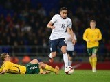 Ravel Morrison of England Under-21s drives with the ball against Lithuania at Portman Road on October 15, 2013
