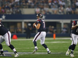 Case Keenum #7 of the Houston Texans during a preseason game at AT&T Stadium on August 29, 2013