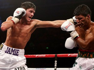 Jamie McDonnell in action with Darwin Zamora during their Final Eliminator for IBF Bantamweight World Championship fight on October 20, 2012