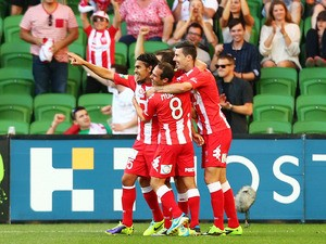 The Heart celebrate a goal by David Williams during the round two A-League match between Melbourne Heart and the Central Coast Mariners at AAMI Park on October 19, 2013