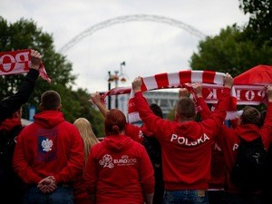 Poland fans walk down Wembley way ahead of the World Cup qualifier against England on October 15, 2013