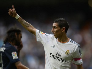 Real Madrid's Argentinian midfielder Angel di Maria during the Spanish league football match Real Madrid vs Malaga on October 19, 2013
