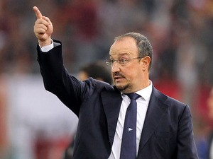 Napoli head coach Rafael Benitez gestures during the Serie A match between AS Roma and SSC Napoli at Stadio Olimpico on October 18, 2013