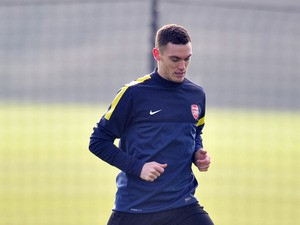 Arsenal's Belgian defender Thomas Vermaelen is seen during training for the forthcoming UEFA Champions League round of 16 football match against Bayern Munich at Arsenal's training ground, London Colney, North London, England on February 18, 2013