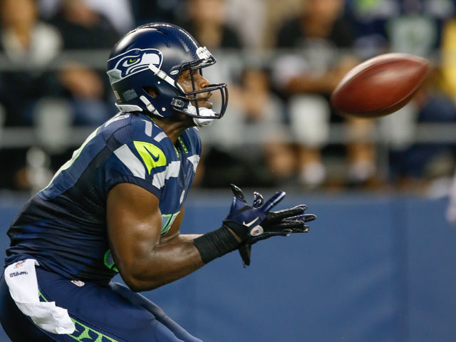 Wide receiver Chris Harper #17 of the Seattle Seahawks drops a pass in the end zone against the Oakland Raiders at CenturyLink Field on August 29, 2013