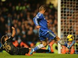 Fernando Torres of Chelsea scores their second goal during the Barclays Premier League match between Chelsea and Manchester City at Stamford Bridge on October 27, 2013